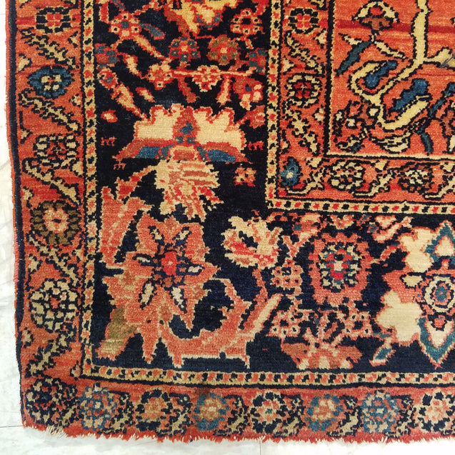 "4'6"" x 6'7""   Antique Persian Malayer Rug Angle View"