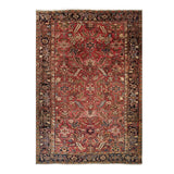 "7'1"" x 10'2""   Antique Persian Heriz Vintage finish Rug Top View"