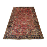 "7'1"" x 10'2""   Antique Persian Heriz Vintage finish Rug Angle View"