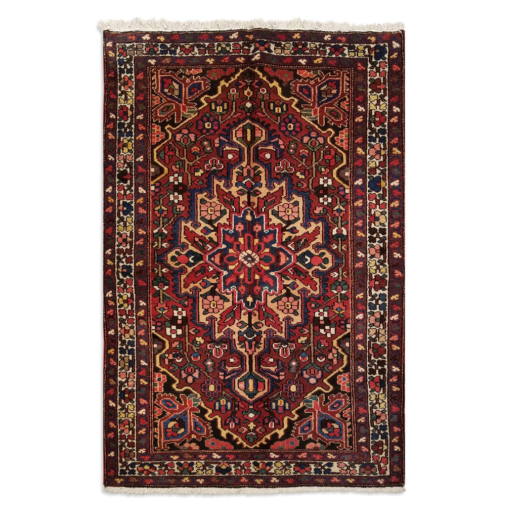"4'3"" x 6'5""   Persian Bakhtiar Rug Top View"