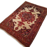 "4'4"" x 6'8""   Antique Persian Malayer Rug Angle View"
