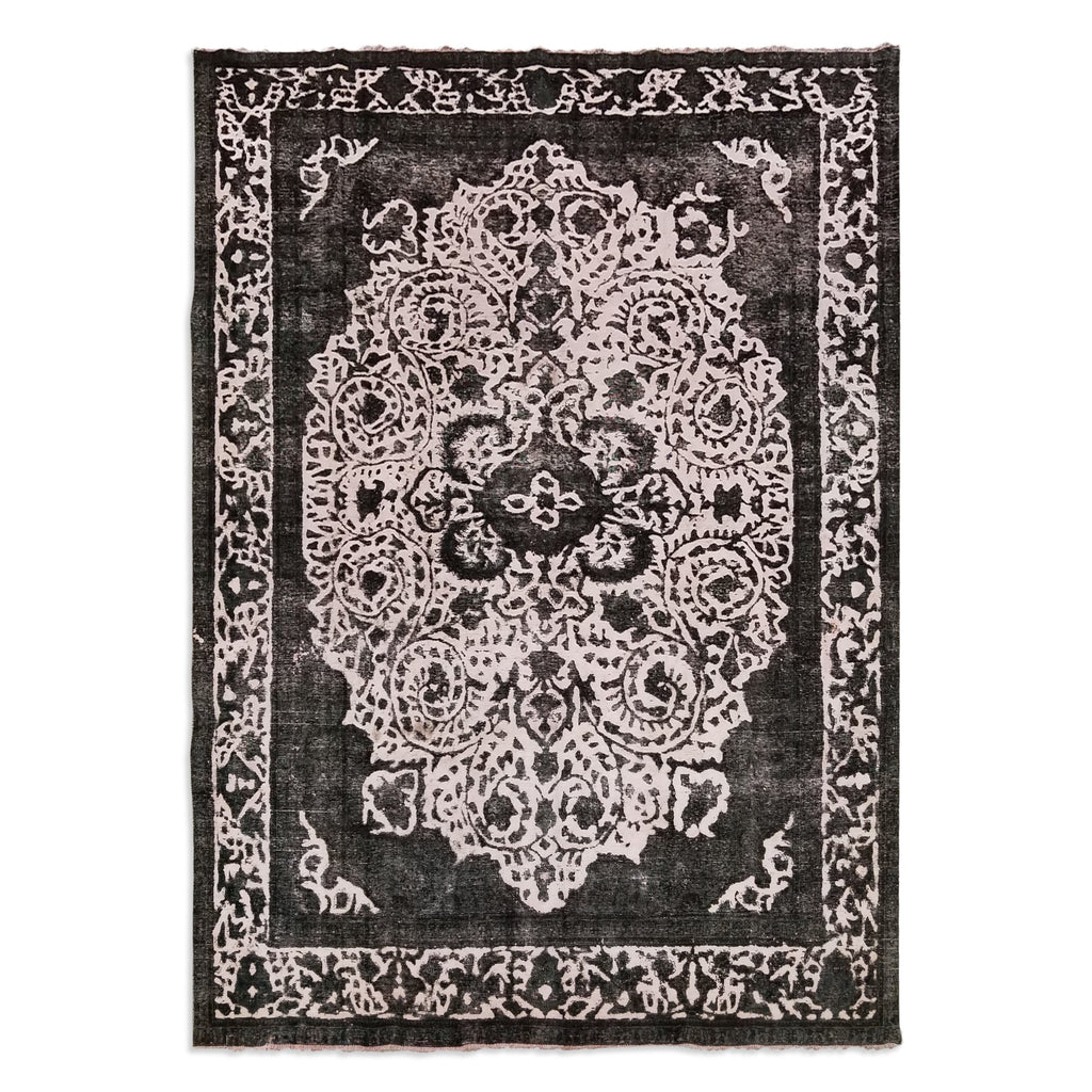 "9'10"" x 13'5""   Persian Tabriz Overdye Vintage Rug Top View"