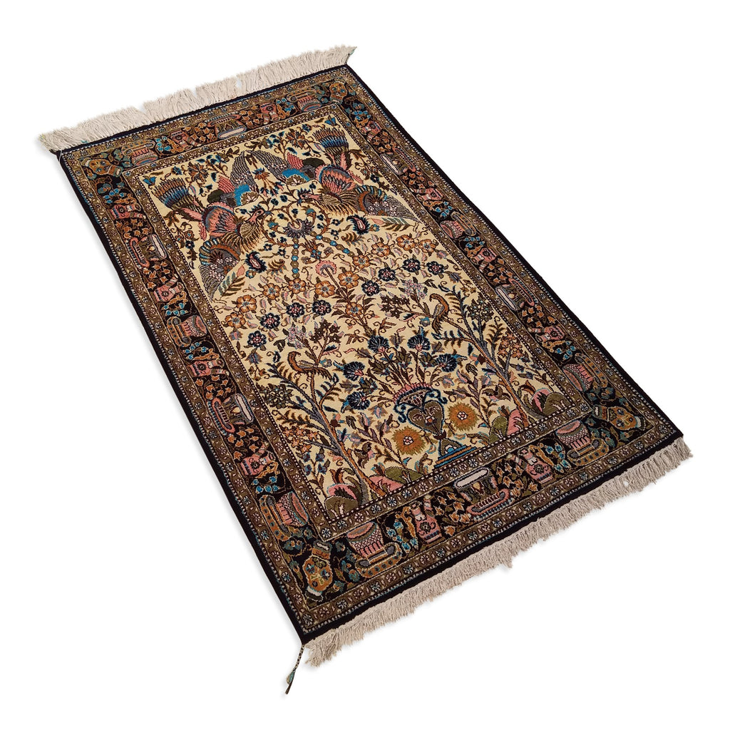 "2'7"" x 4'1""   Silk Persian Qom Rug Angle View"