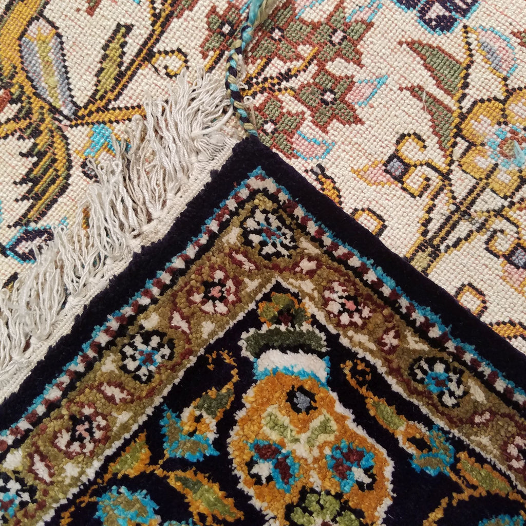 "2'7"" x 4'1""   Silk Persian Qom Rug Back View"