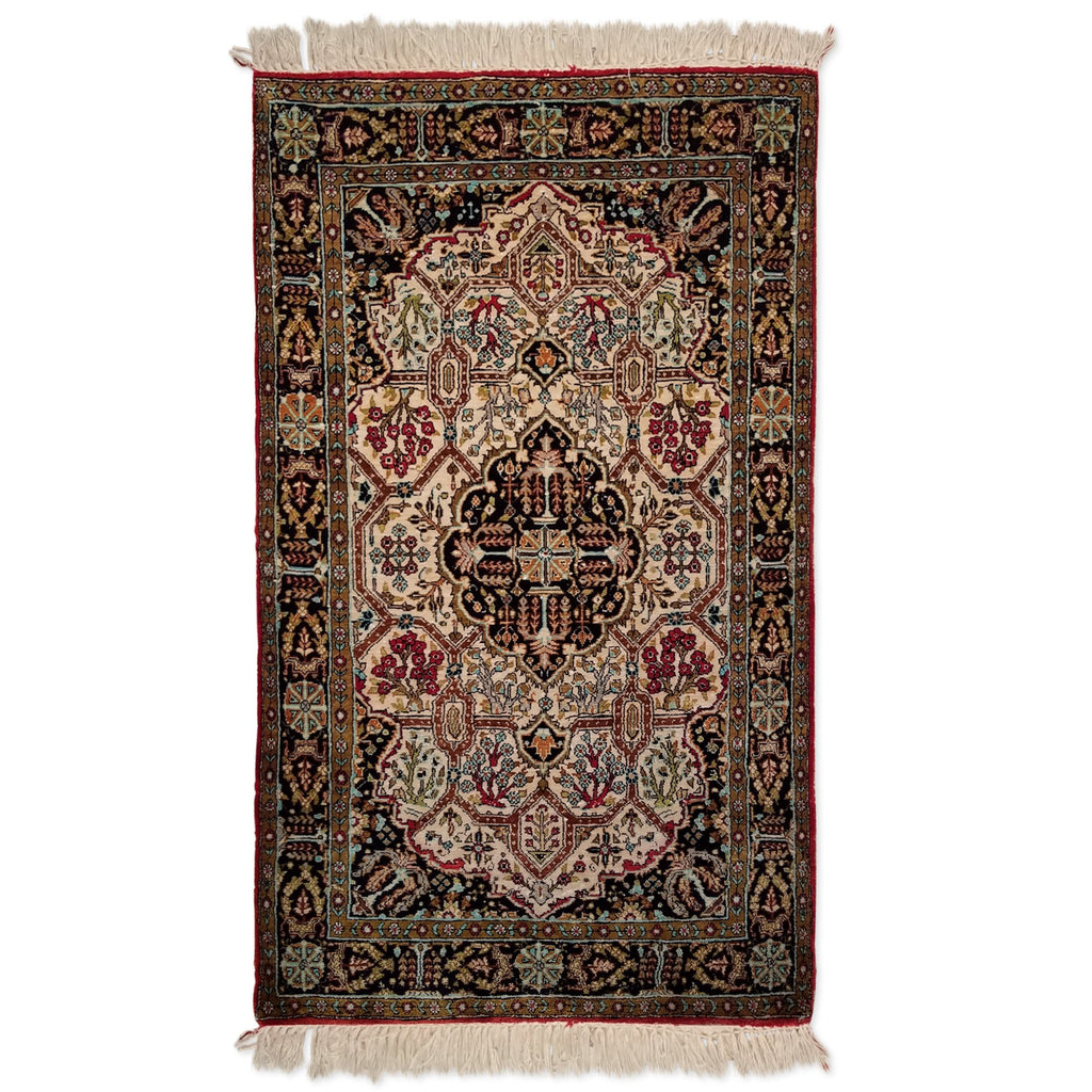 "2'6"" x 4'3""   Silk Persian Qom Rug Top View"
