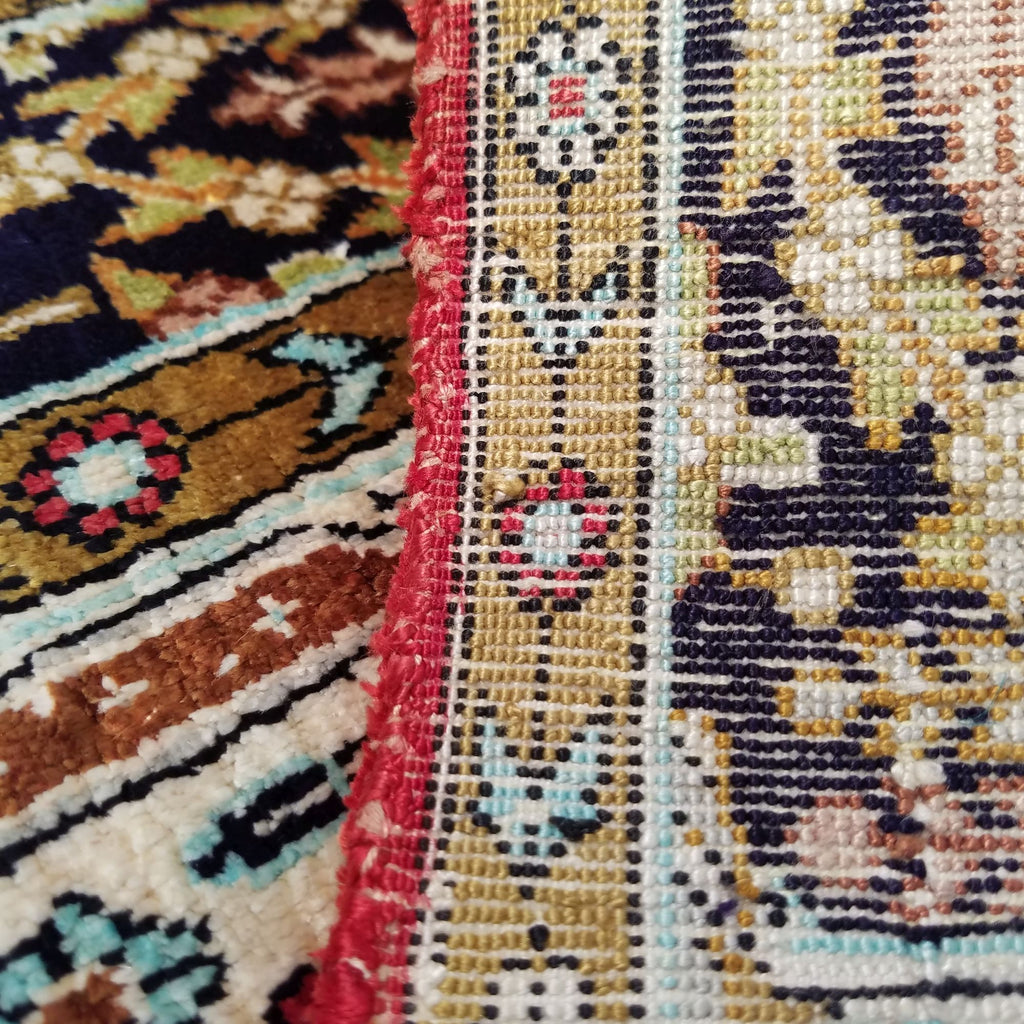 "2'6"" x 4'3""   Silk Persian Qom Rug Back View"