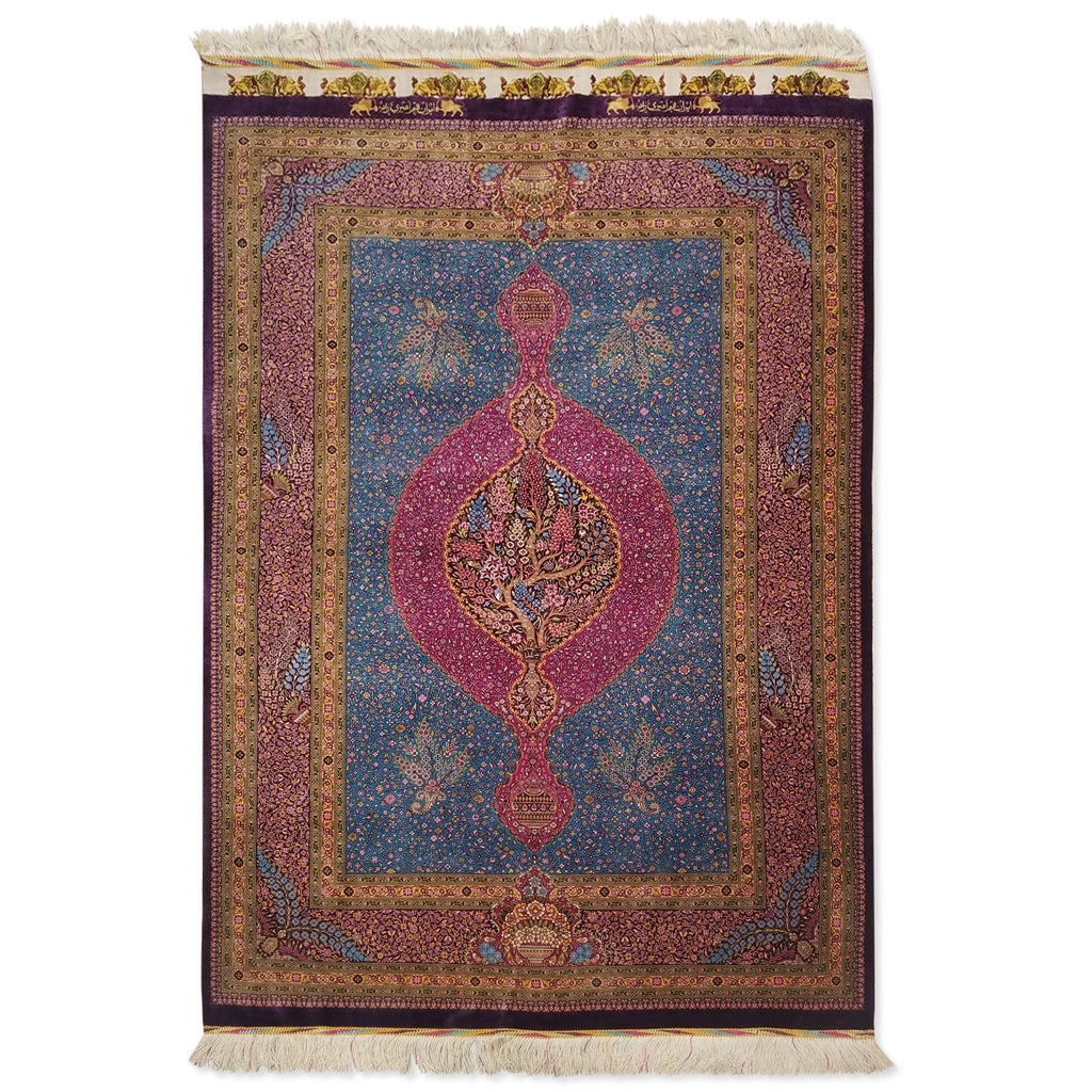"3'5"" x 5'0""   Silk Persian Qom Rug Top View"