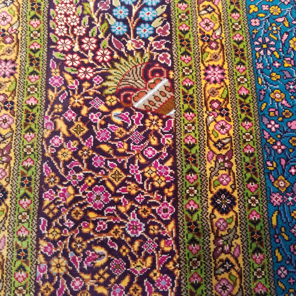 "3'5"" x 5'0""   Silk Persian Qom Rug Angle View"