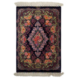 "2'8"" x 3'11""   Silk Persian Qom Rug Top View"