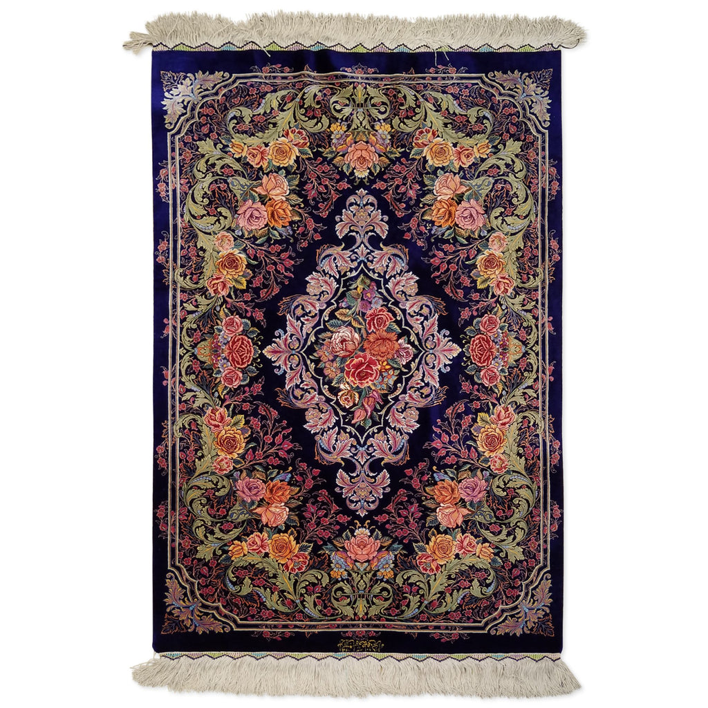 "2'8"" x 3'11""   Silk Persian Qom Rug Angle View"