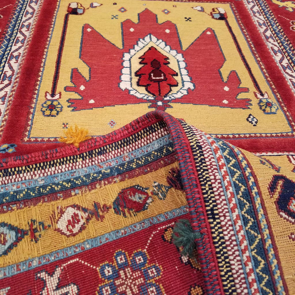 "3'3"" x 9'3""   Persian Qashqai Sumak Runner Rug Back View"