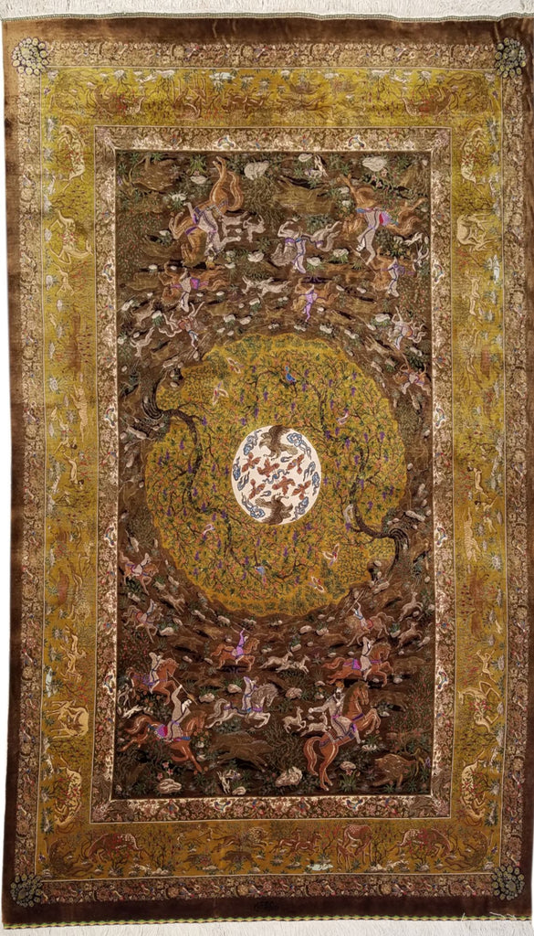 "4'0"" x 7'0""   Silk Persian Qom Rug Top View"