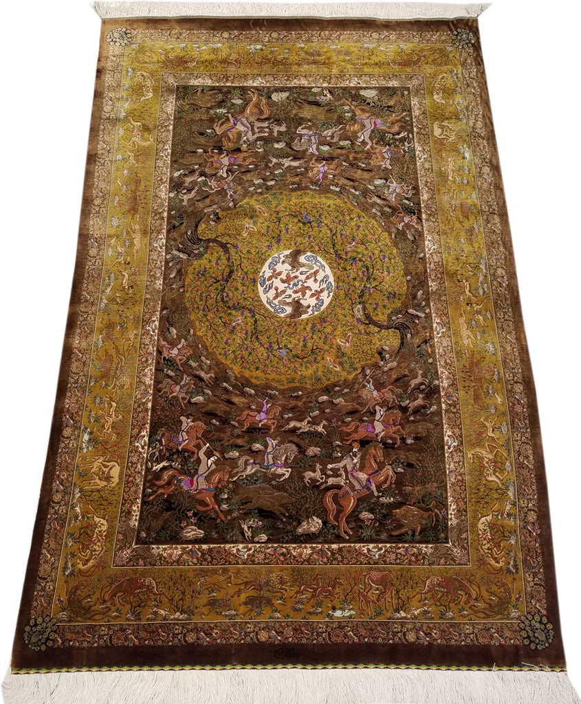 "4'0"" x 7'0""   Silk Persian Qom Rug Angle View"