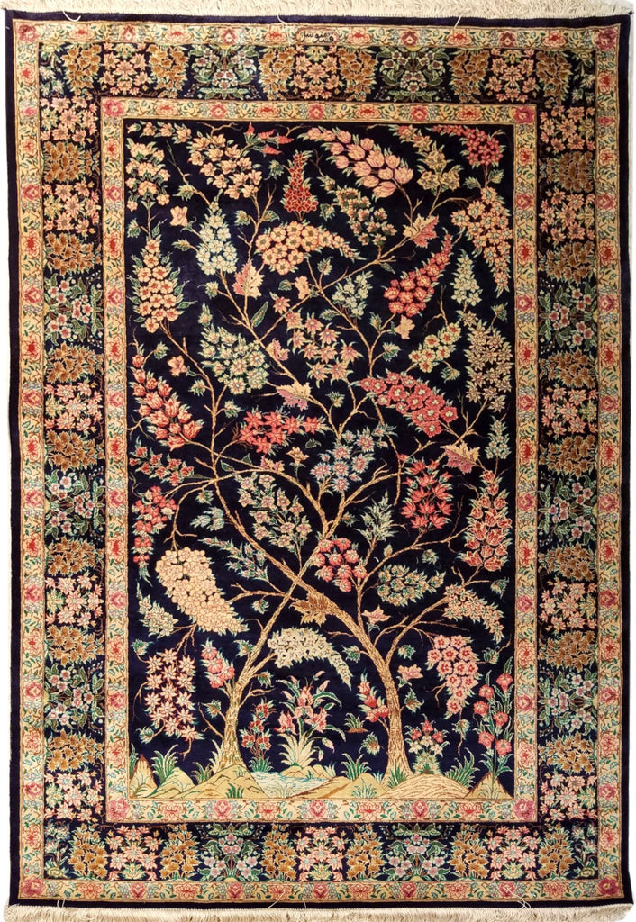 "4'5"" x 6'5""   Silk Persian Qom Tree of Life Rug Top View"