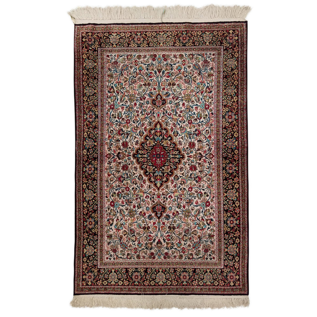 "3'4"" x 5'3""   Silk Persian Qom Rug Top View"