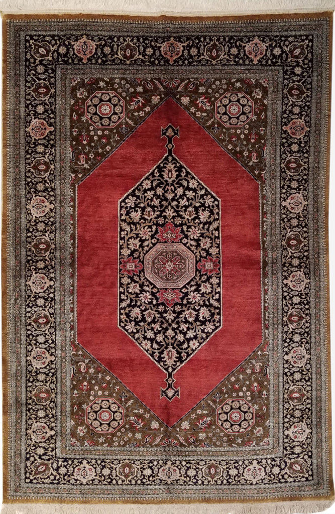 "4'3"" x 6'6""   Silk Persian Qom Rug Top View"