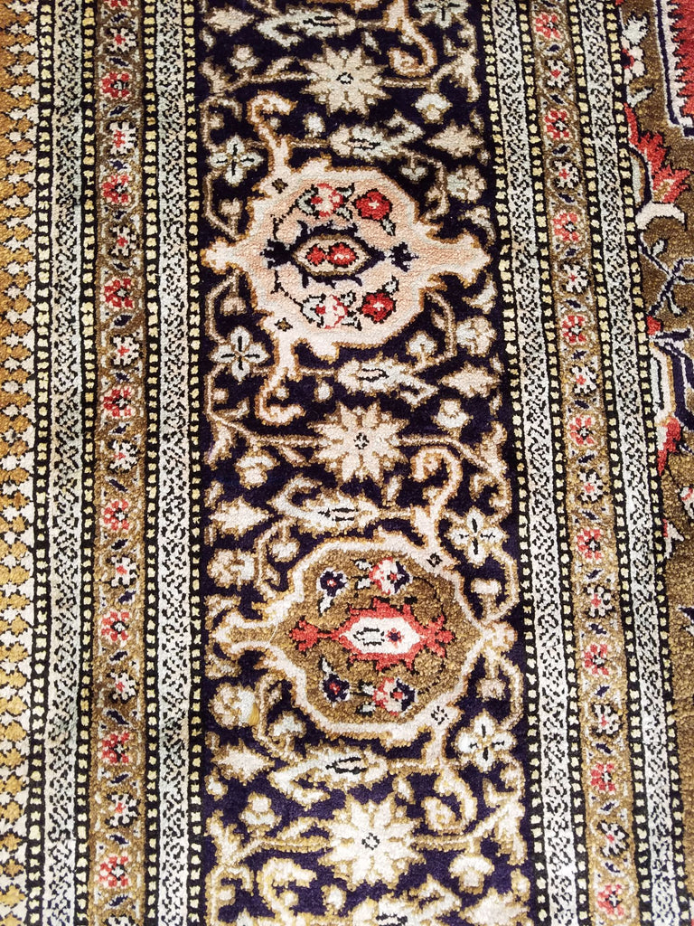 "4'3"" x 6'6""   Silk Persian Qom Rug Angle View"