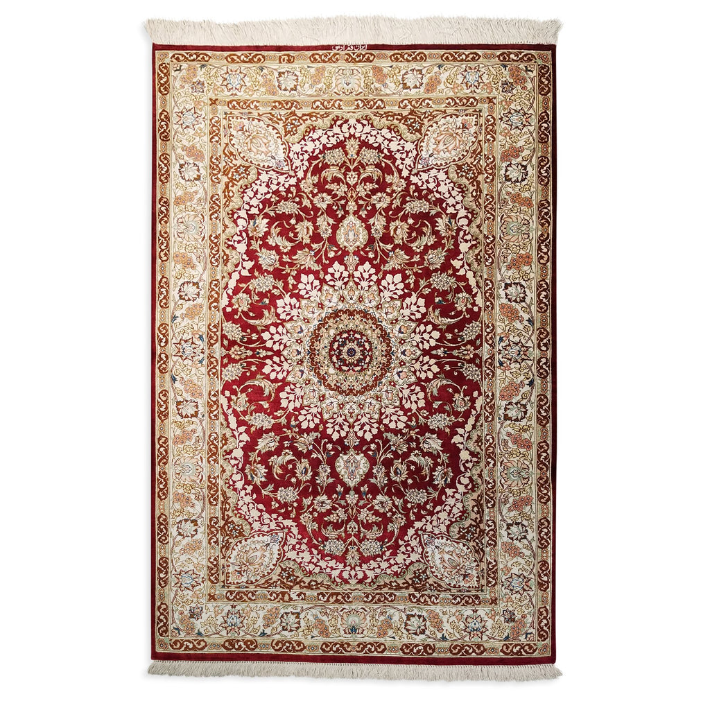 "3'3"" x 5'1""   Silk Persian Qom Rug Top View"