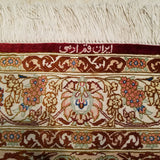 "3'3"" x 5'1""   Silk Persian Qom Rug Angle View"
