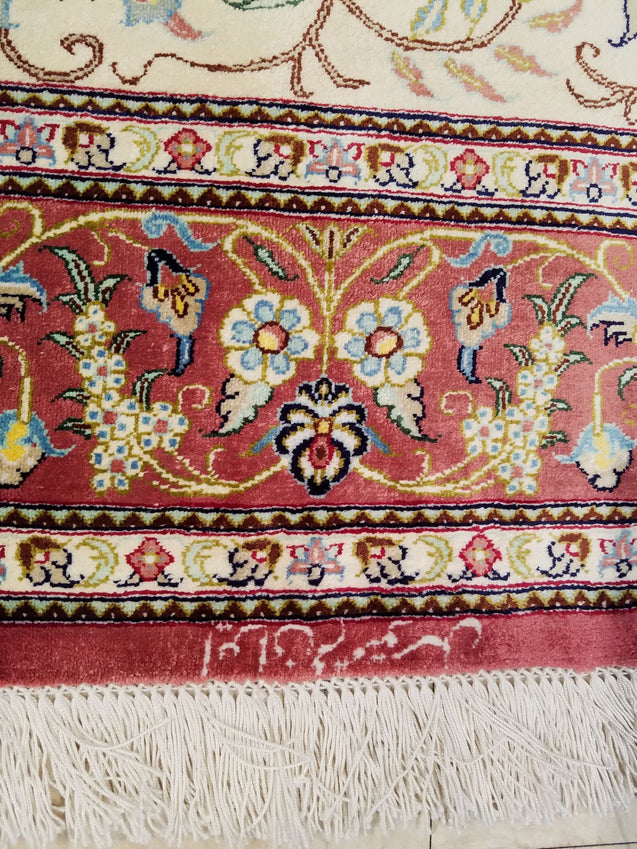 "3'2"" x 5'0""   Silk Persian Qom Rug Back View"