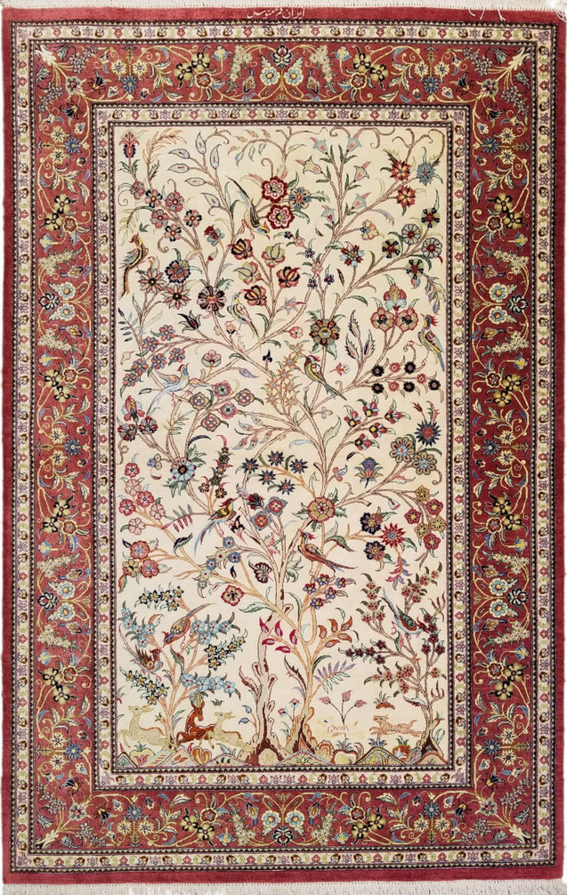 "3'2"" x 5'0""   Silk Persian Qom Rug Top View"