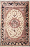 "3'1"" x 4'9""   Silk Persian Qom Rug Top View"