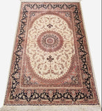 "3'1"" x 4'9""   Silk Persian Qom Rug Angle View"