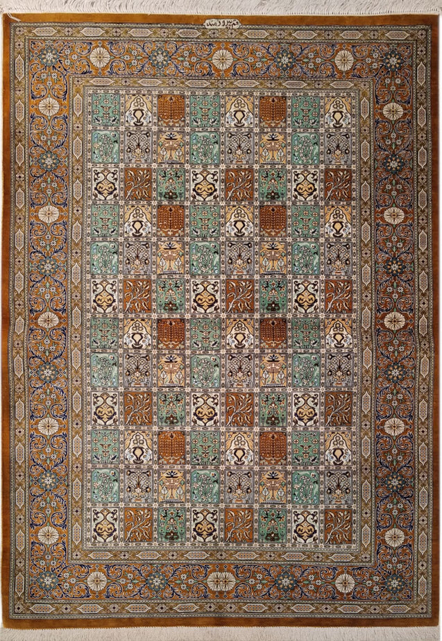 "3'3"" x 4'8""   Silk Persian Qom Rug Top View"