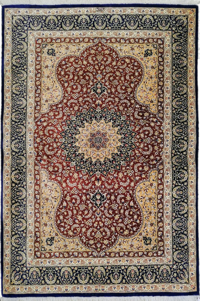 "3'3"" x 4'7""   Silk Persian Qom Rug Top View"