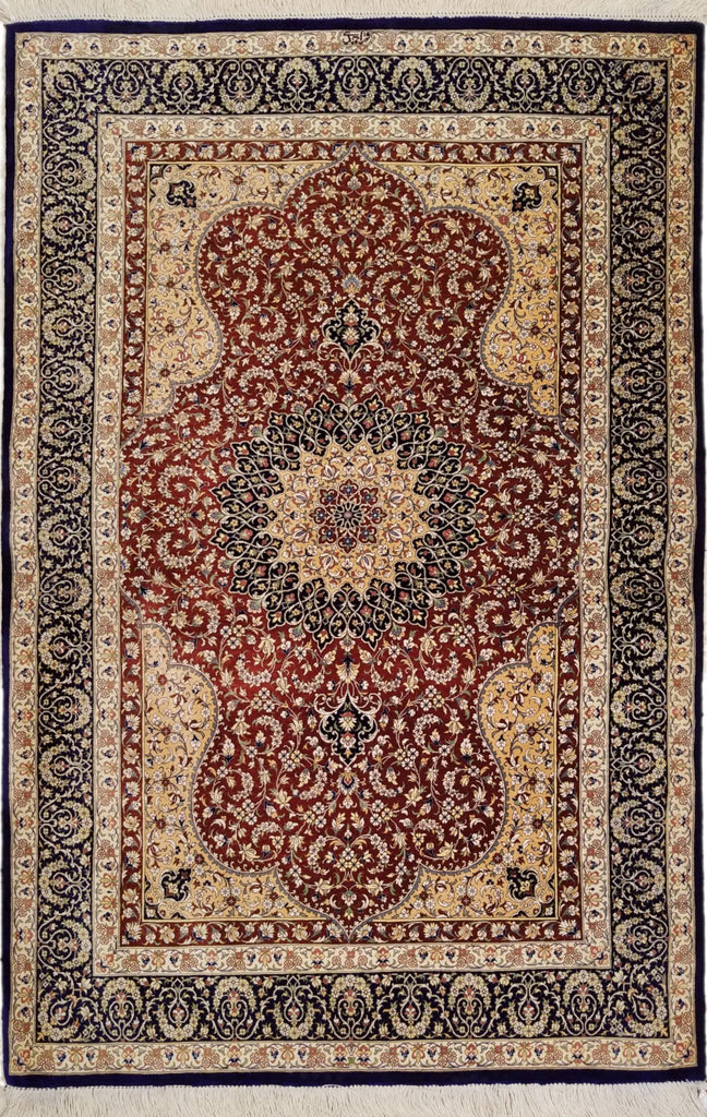 "3'3"" x 4'7""   Silk Persian Qom Rug Angle View"