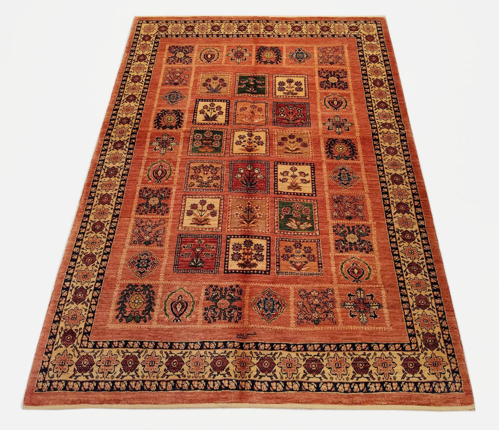 "4'7"" x 6'8""   Persian Kashkuli Rug Top View"