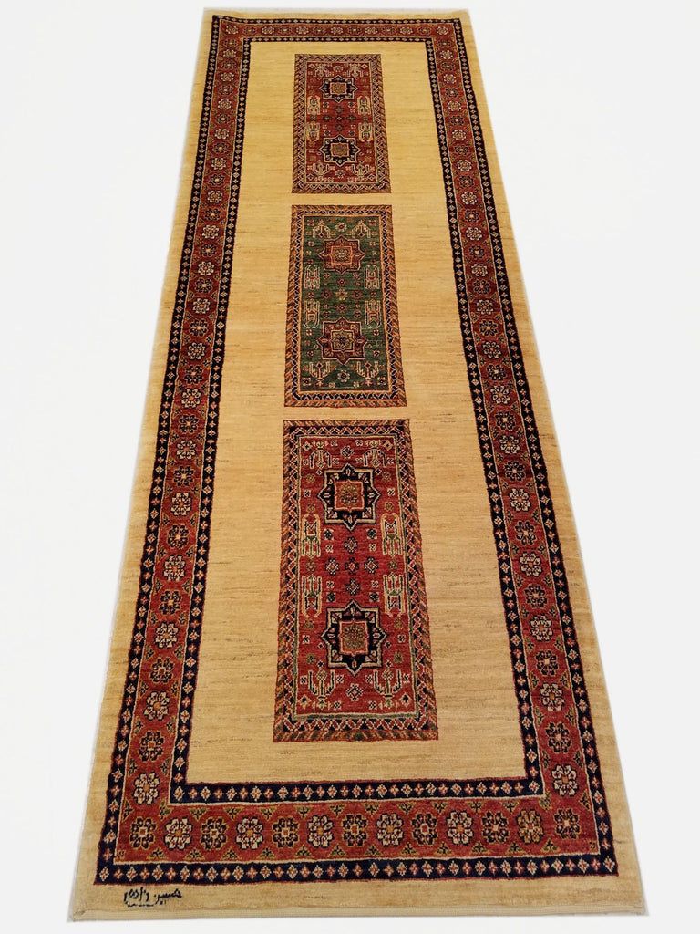 "2'11"" x 8'4""   Persian Kashkuli Runner Rug Top View"