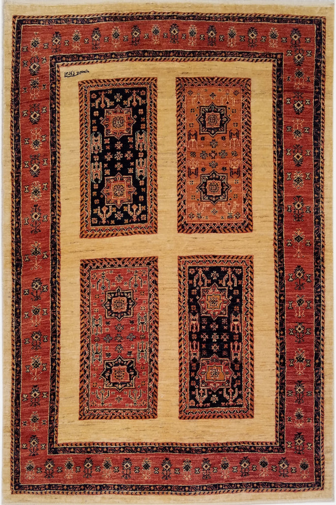 "3'7"" x 5'4""   Persian Kashkuli Rug Top View"