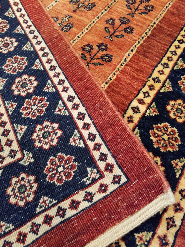 "2'8"" x 9'2""   Persian Kashkuli Runner Rug Back View"
