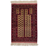 "3'0"" x 4'7""   Silk Persian Turkman Prayer design Rug Top View"