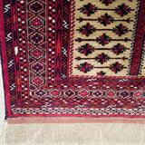 "3'0"" x 4'7""   Silk Persian Turkman Prayer design Rug Angle View"