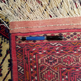 "3'0"" x 4'7""   Silk Persian Turkman Prayer design Rug Back View"