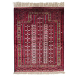 "3'7"" x 4'8""   Silk Persian Turkman Prayer design Rug Top View"