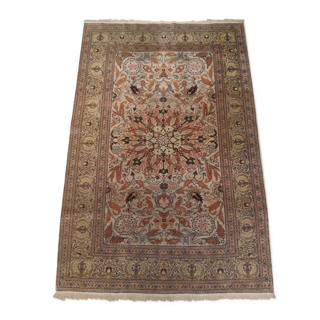 "2'11"" x 4'5""   Silk Turkish Kayseri Rug Angle View"