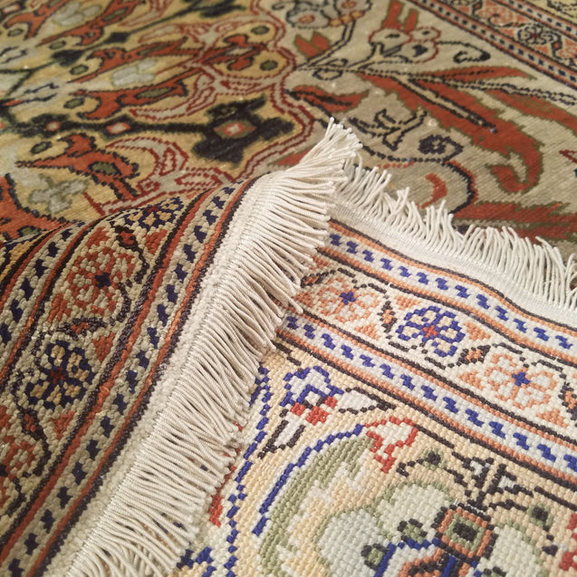 "2'11"" x 4'5""   Silk Turkish Kayseri Rug Back View"