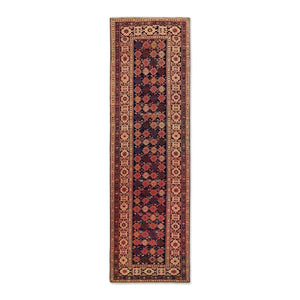 "2'11"" x 9'7""   Turkish Shirvan Runner Rug Top View"