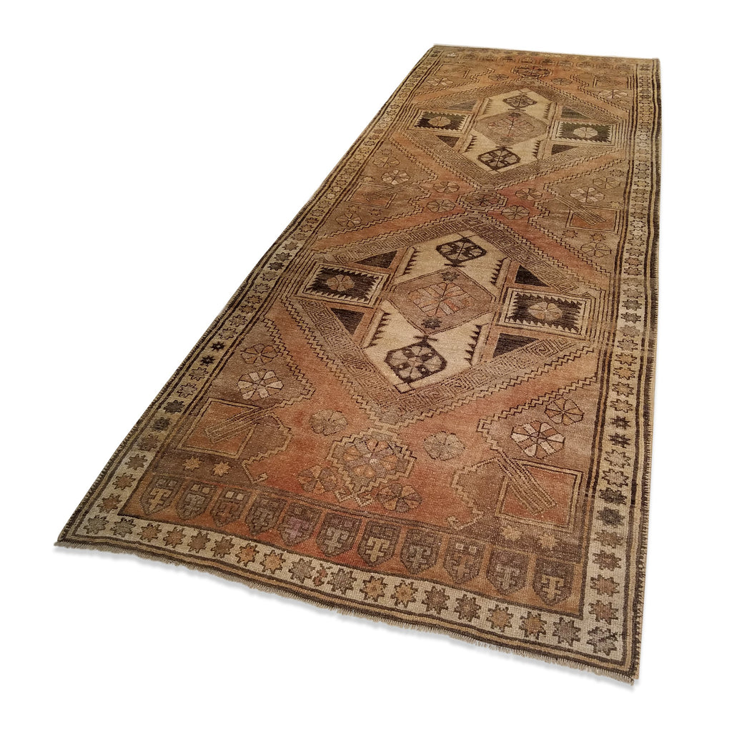 "4'8"" x 12'4""   Antique Turkish Karapinar Runner Rug Angle View"