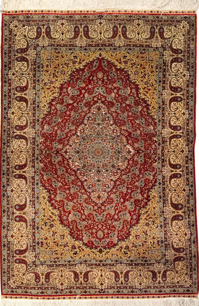 "3'11"" x 6'0""   Silk Turkish Hereke Rug Top View"