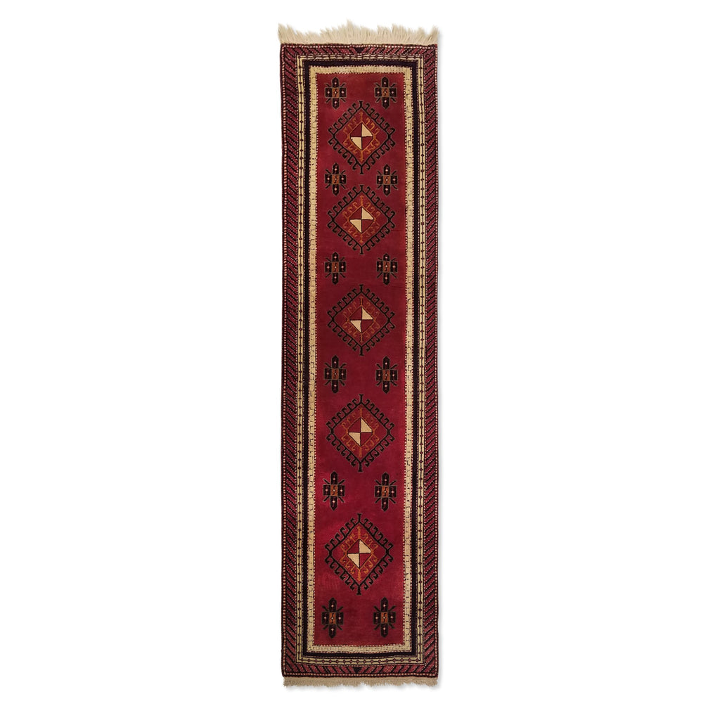 "2'5"" x 9'9""   Turkish Malatya Runner Rug Top View"