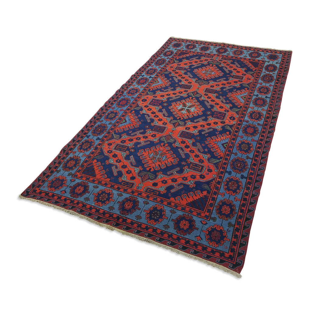"5'4"" x 9'4""   Antique Uzbek Sumak Rug Angle View"