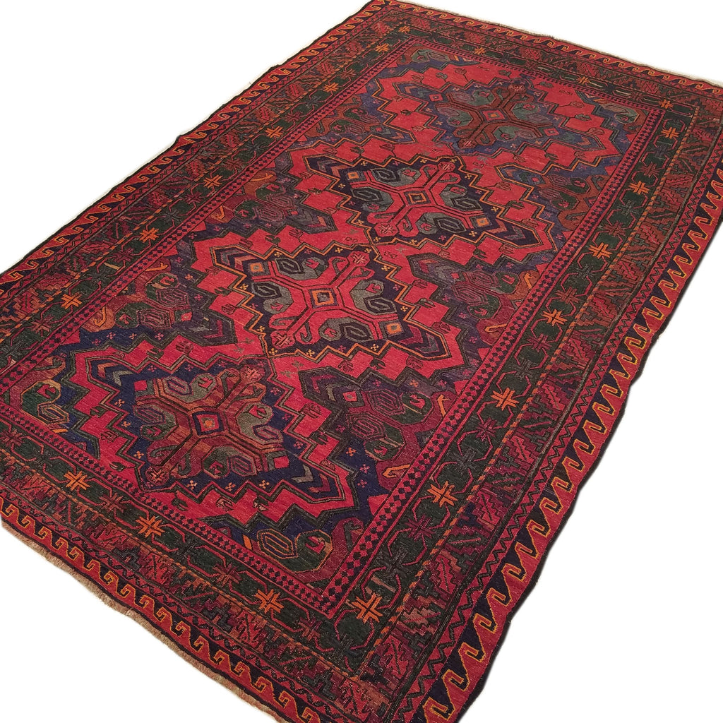 "5'7"" x 9'0""   Antique Uzbek Sumak Rug Angle View"