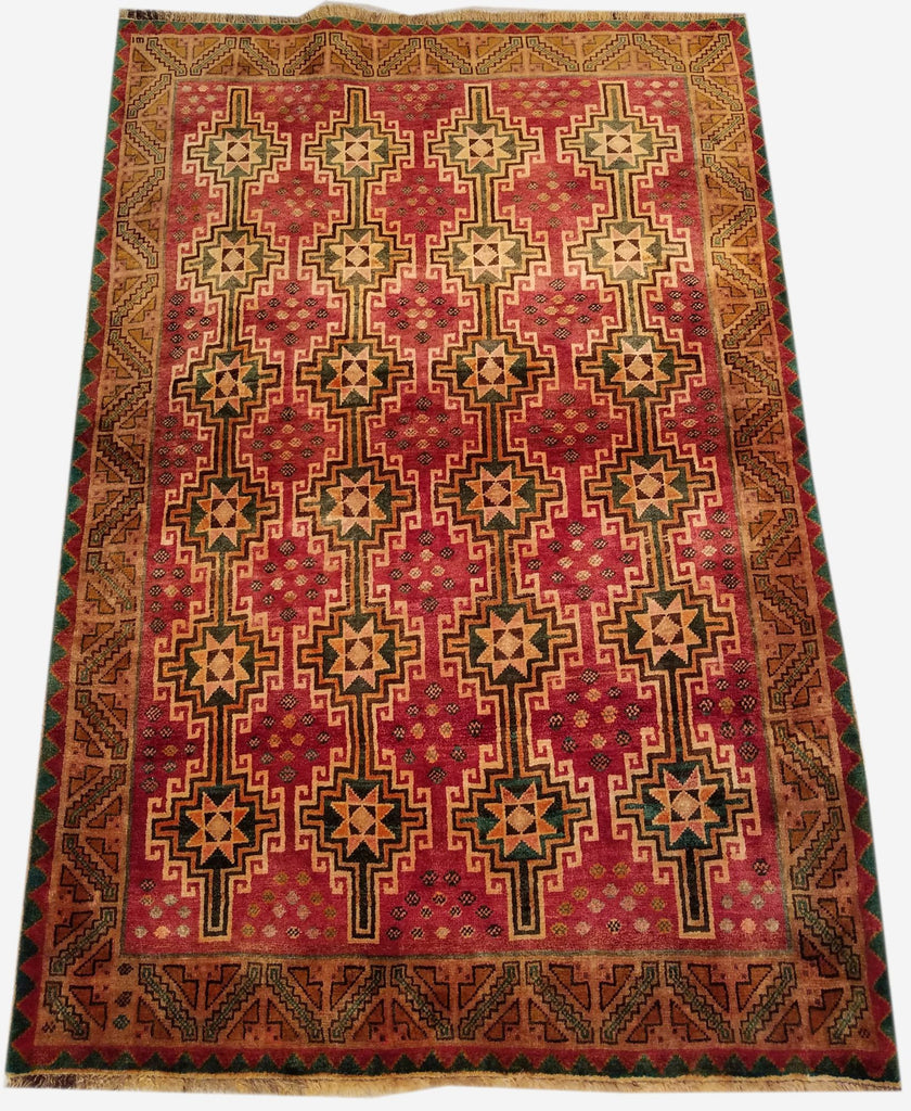 "4'6"" x 7'6""   Persian Vintage Gabbeh Rug Back View"