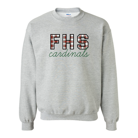 FHS Cardinals Winter Plaid Sweatshirt