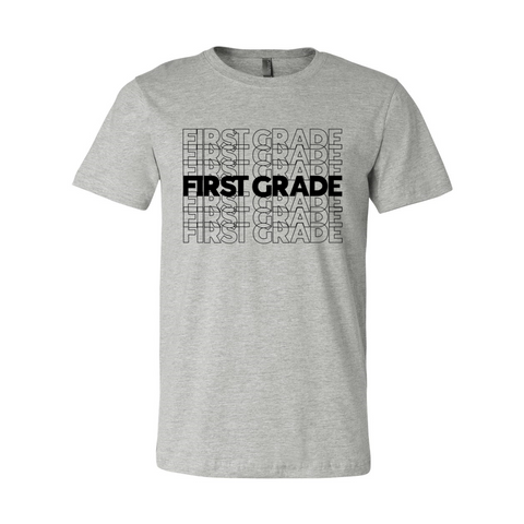 First Grade Stacked Print T-Shirt