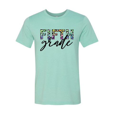 Fifth Grade Colorful Animal Print Tee